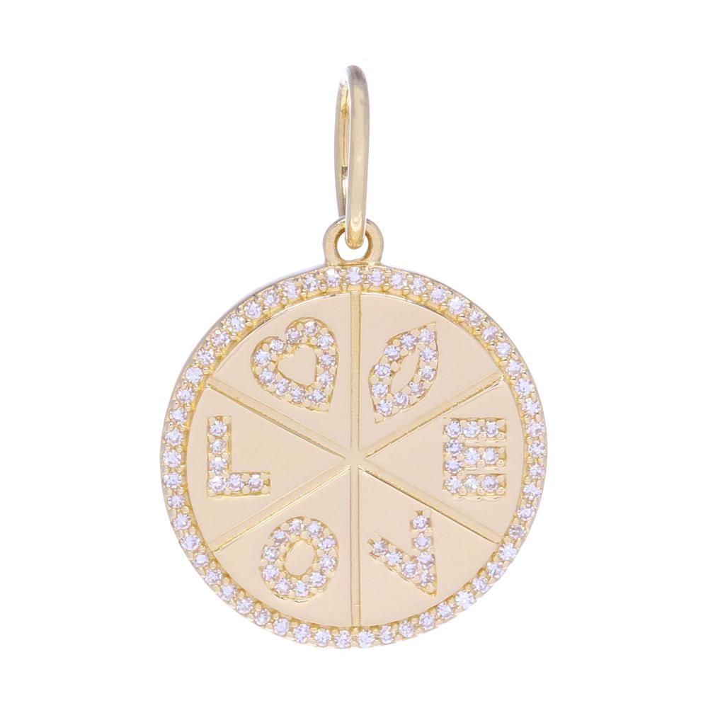 Yellow Gold and Diamond Love Medallion Pendant
