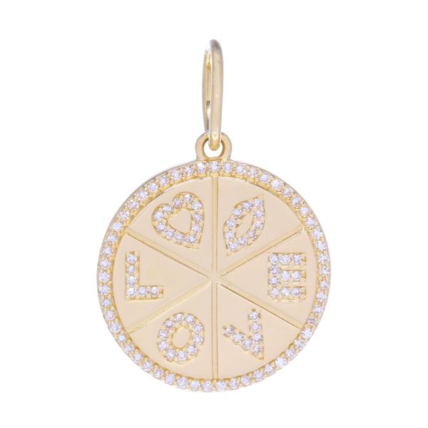 Closeup photo of Yellow Gold and Diamond Love Medallion Pendant