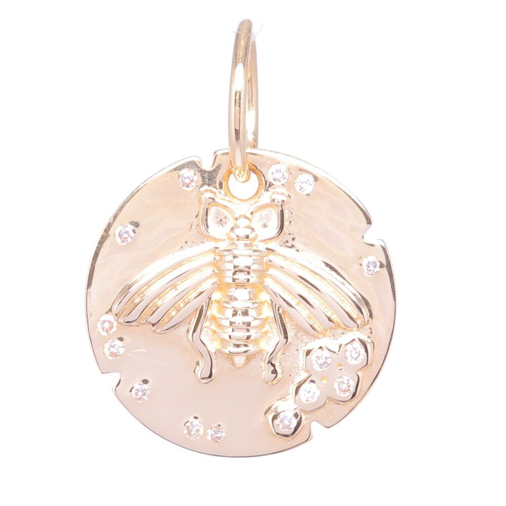Small Bee Medallion Pendant 14k Gold with Diamonds