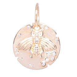 Closeup photo of Small Bee Medallion Pendant 14k Gold with Diamonds