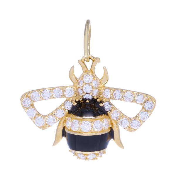 Closeup photo of Large Bee Pendant With Black Enamel 1.04ct Diamonds 3.7g 14k Gold