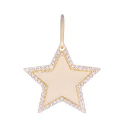 Closeup photo of Star Charm Pendant 14k Gold with Diamonds