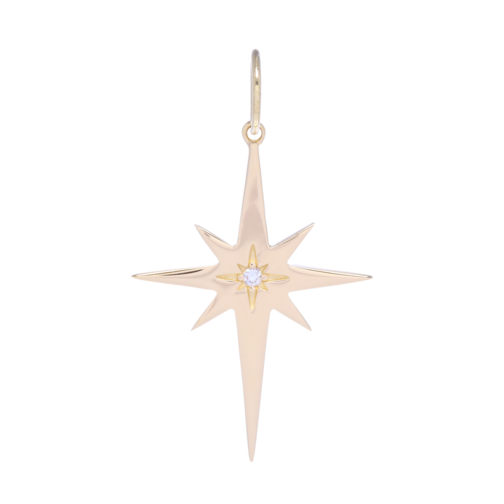 Large Gold North Star Charm Pendant with a Diamond