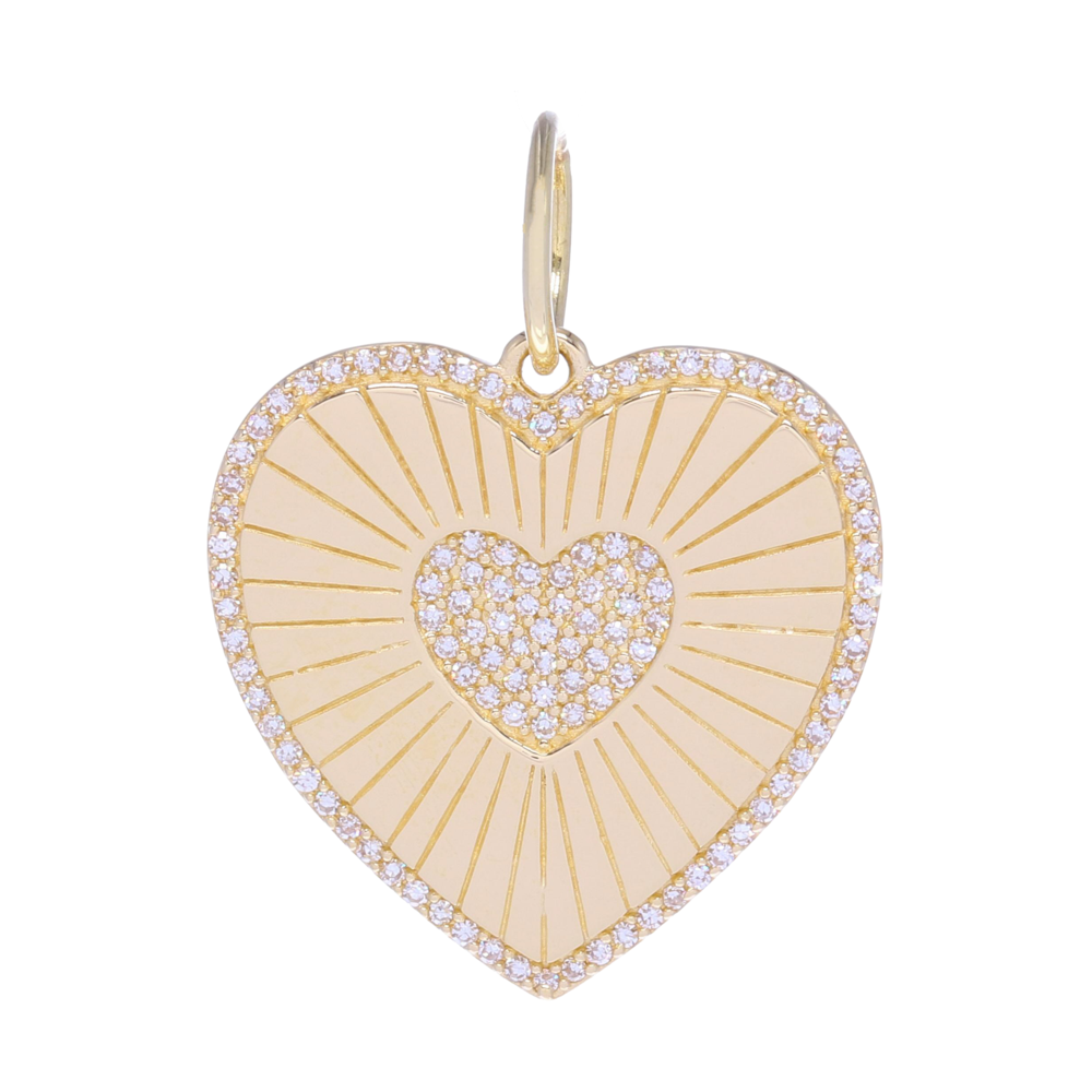 Gold Shine Diamond Heart Medallion Pendant