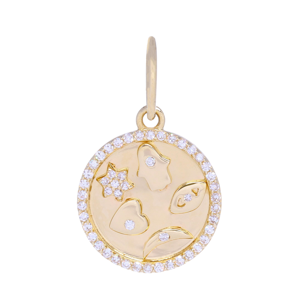 Small Five-Symbol Medallion Pendant 14k Gold with Diamonds