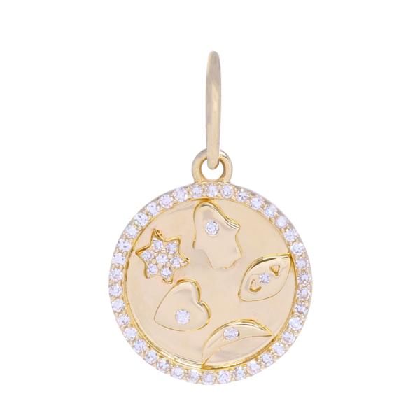 Closeup photo of Small Five-Symbol Medallion Pendant 14k Gold with Diamonds
