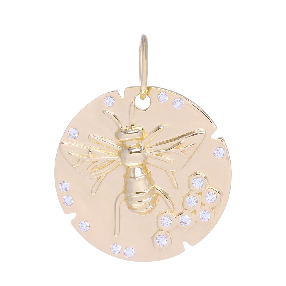 Large Bee Medallion Pendant 14k Gold with Diamonds