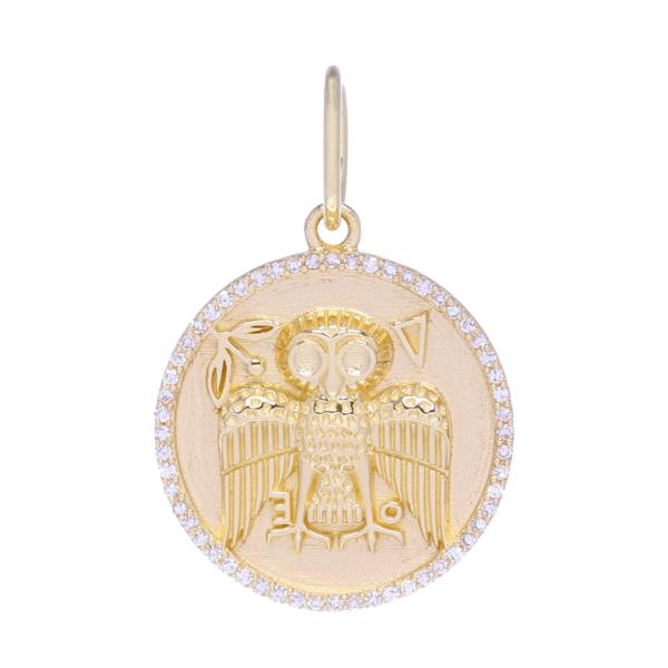 Closeup photo of Owl Medallion Pendant 14k Gold with Diamonds