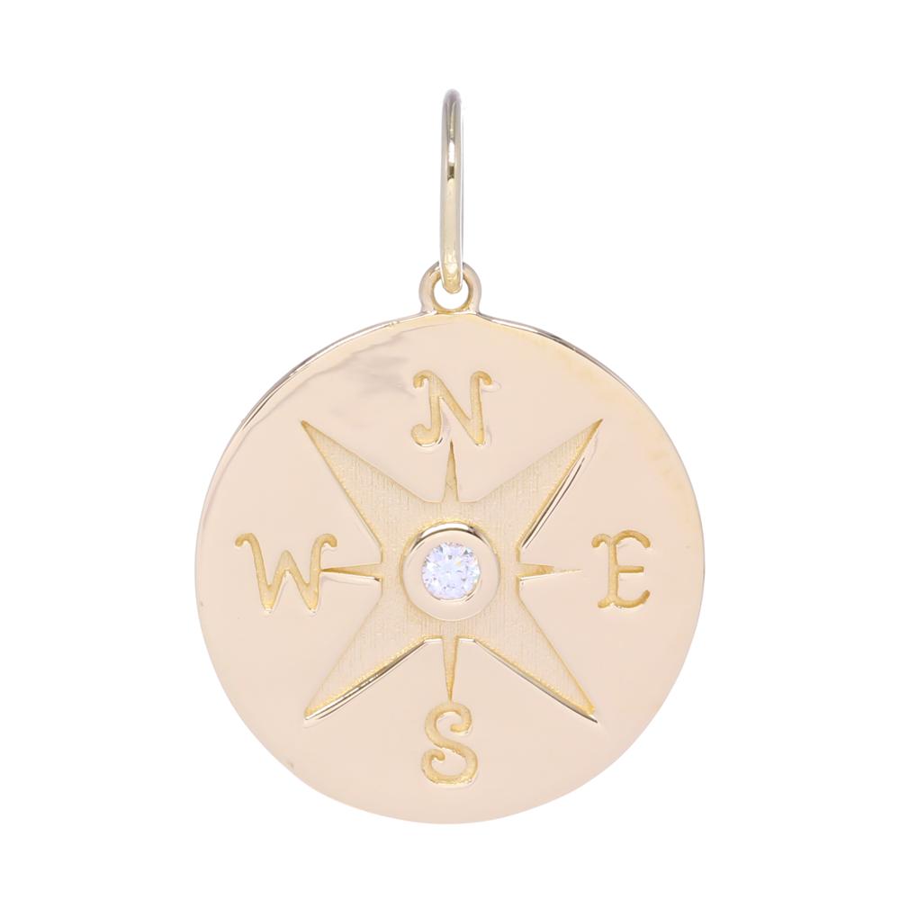 Compass Medallion Pendant 14k Gold with Diamonds