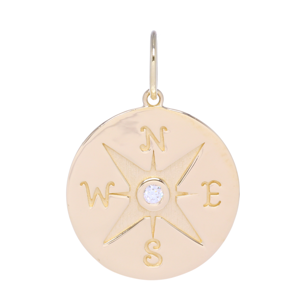 Closeup photo of Compass Medallion Pendant 14k Gold with Diamonds