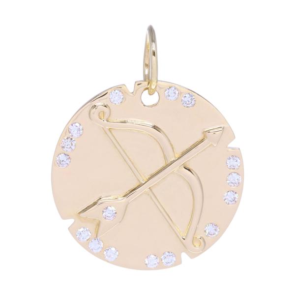 Closeup photo of Bow and Arrow Pendant 14k Gold with Diamonds