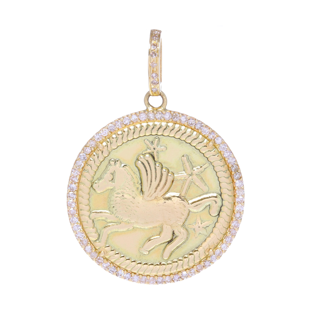 Pegasus & Stars Medallion Pendant 14k Gold with Diamonds
