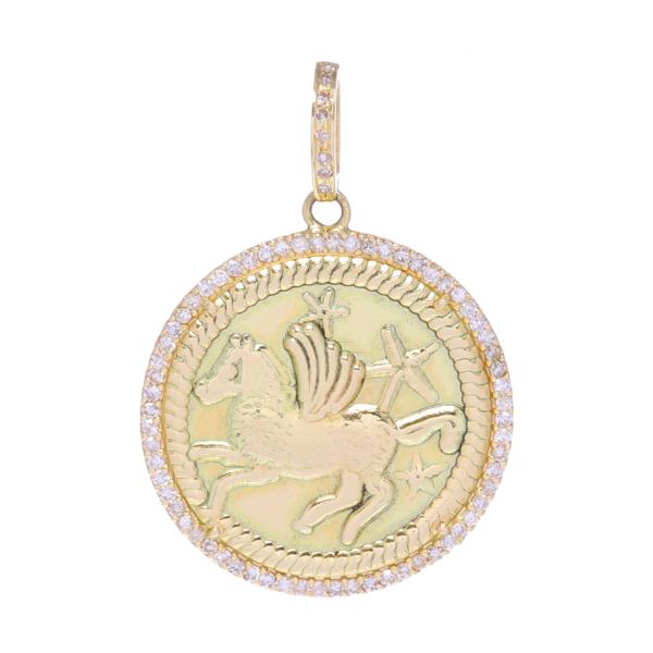 Closeup photo of Pegasus & Stars Medallion Pendant 14k Gold with Diamonds