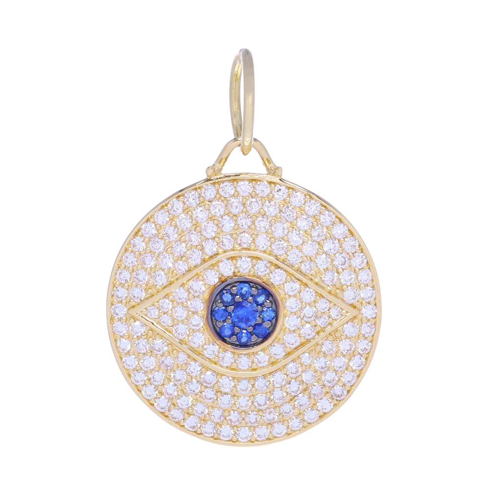 Large All-Seeing Eye Pendant 14k Gold with Pave Diamonds and Blue Sapphires