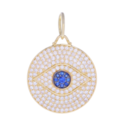 Closeup photo of Large All-Seeing Eye Pendant 14k Gold with Pave Diamonds and Blue Sapphires