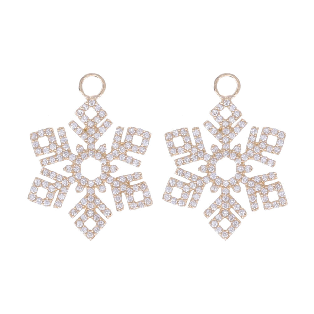 Snowflake Earring Charms 14k Gold with Diamonds