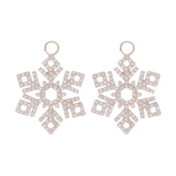 Closeup photo of Snowflake Earring Charms 14k Gold with Diamonds