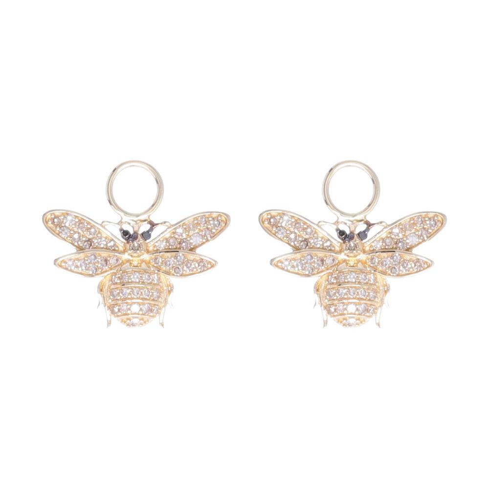 14k Yellow Gold Diamond Small Bee Earring Charms