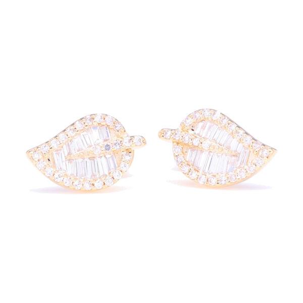 Closeup photo of Baguette Diamond Leaf Stud Earrings
