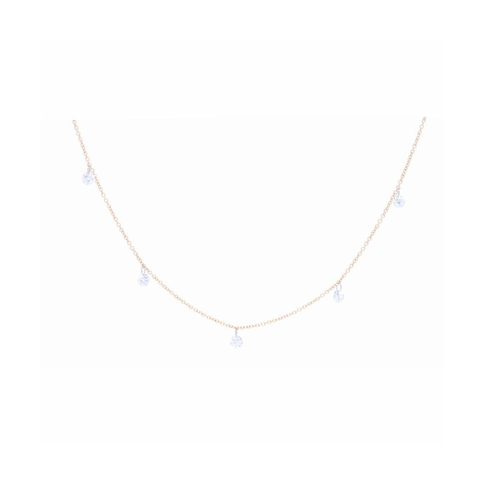 Dangling Diamond Bead Necklace 14k Gold