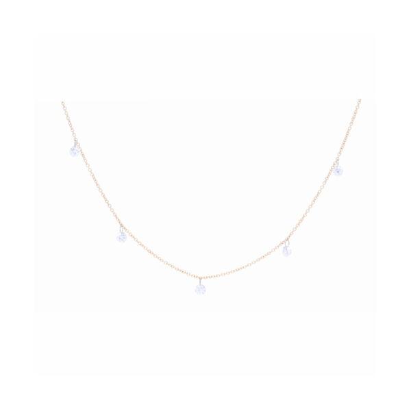 Closeup photo of Dangling Diamond Bead Necklace 14k Gold