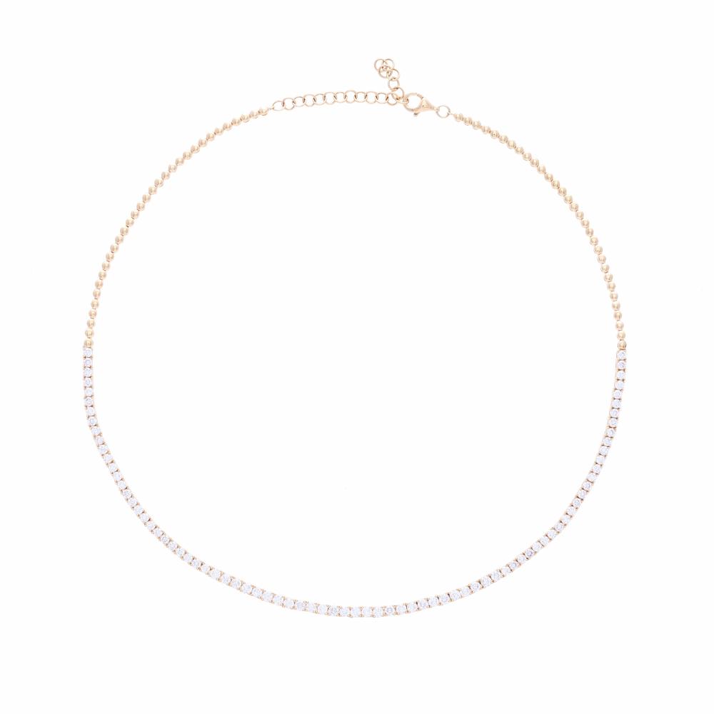 1/2 Way Diamond Choker Necklace14k Gold with Diamonds