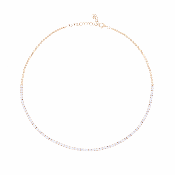 Closeup photo of 1/2 Way Diamond Choker Necklace14k Gold with Diamonds