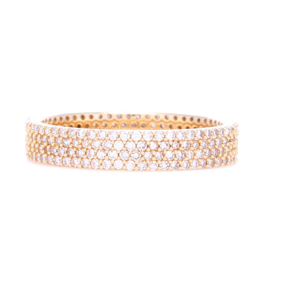 14k Yellow Gold 4 Row Pave Diamond Stack Ring
