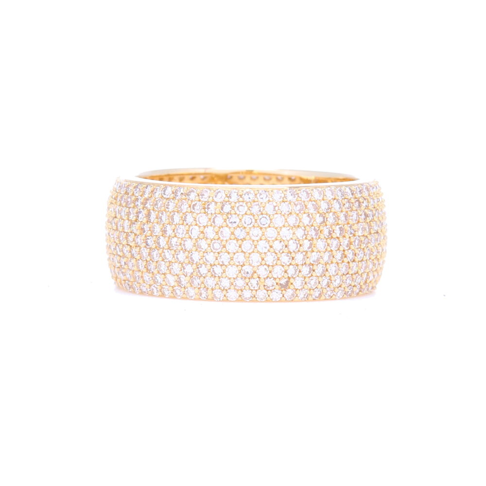 14k Yellow Gold 9 Row Pave Diamond Band