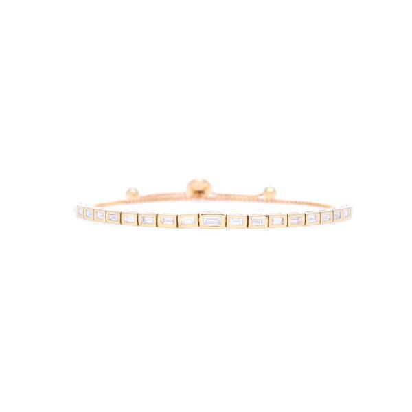 Closeup photo of 14k Yellow Gold Step Cut Diamond Bolo Bracelet