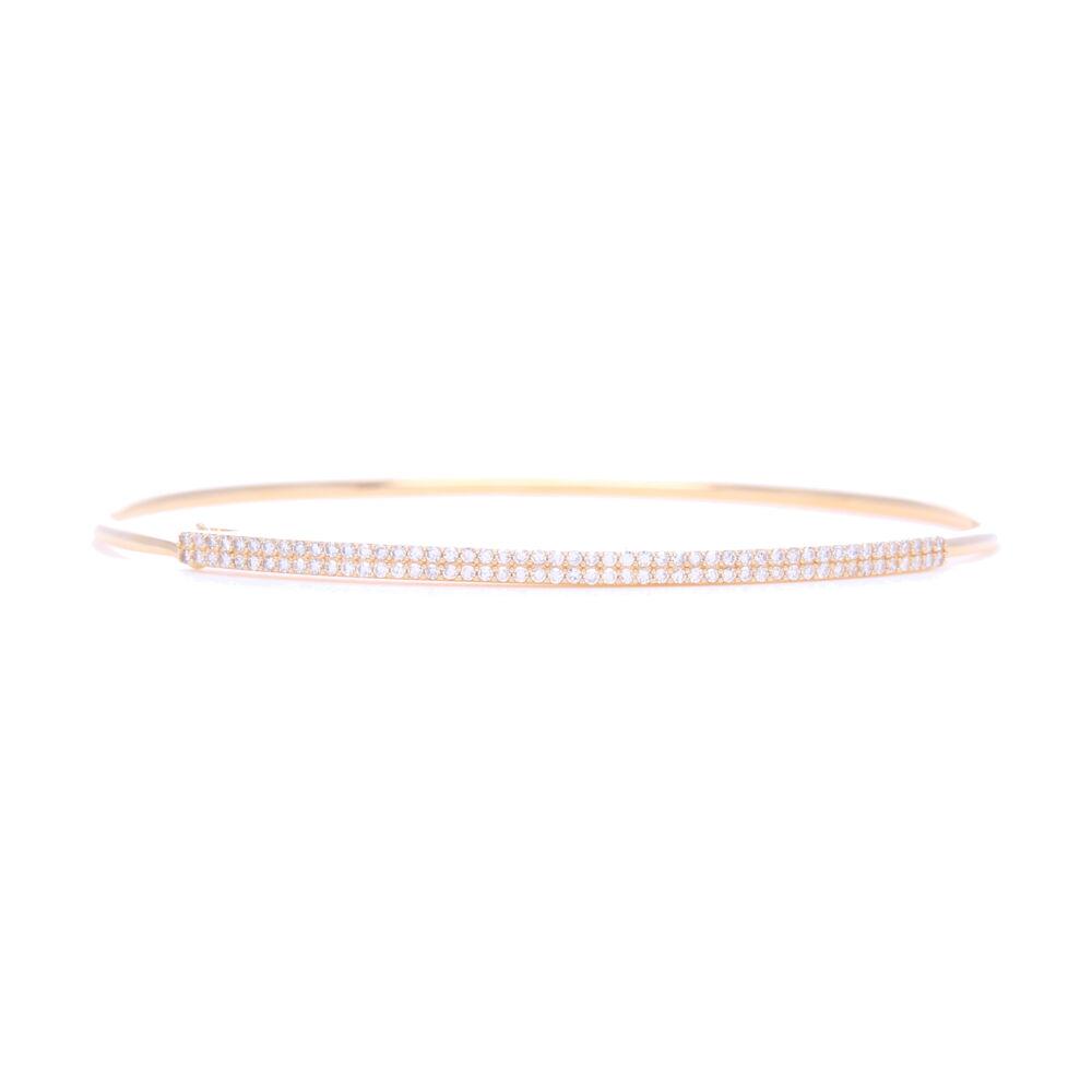 14k Yellow Gold 2 Row Pave Diamond Tension Bangle Bracelet