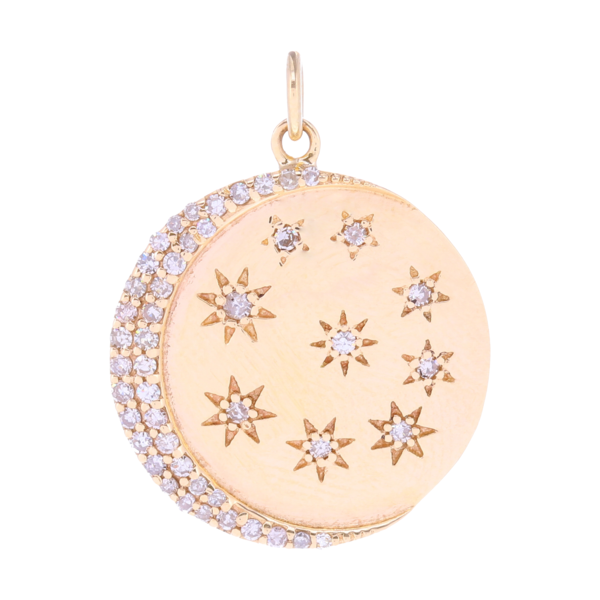Closeup photo of Crescent moon and stars Pendant 14k Gold with Diamonds