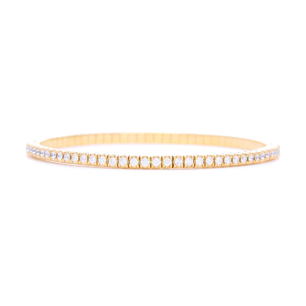 Italian 18k Gold Flexible Prong Set Diamond Bracelet