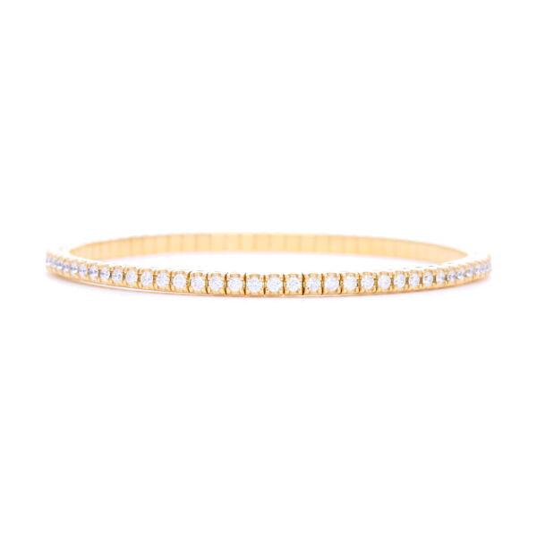 Closeup photo of Italian Flexible Bracelet 18k Gold with Diamonds