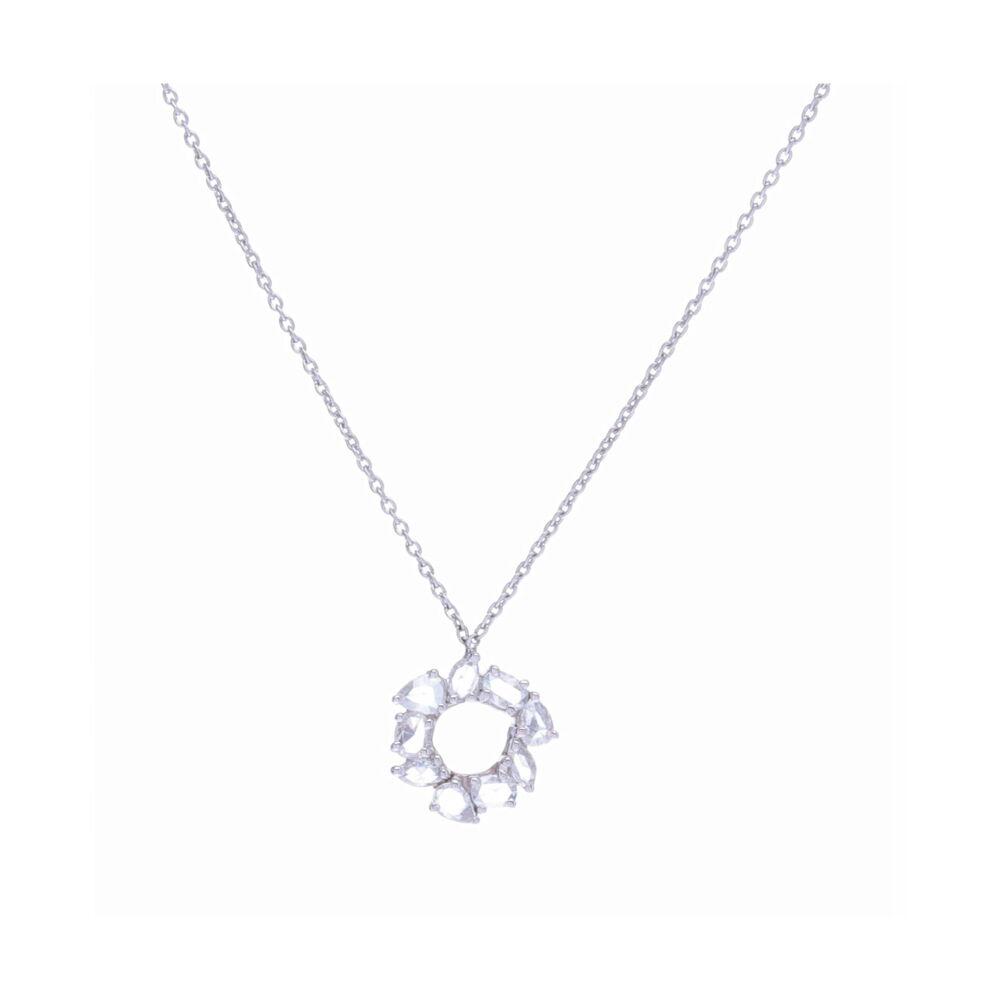 18k White Gold Mix Shape Rose Cut Diamond Chain