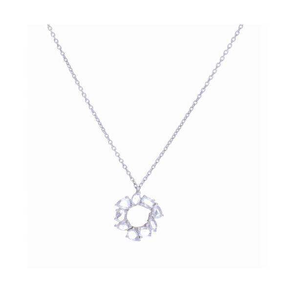Closeup photo of 18k White Gold Mix Shape Rose Cut Diamond Chain