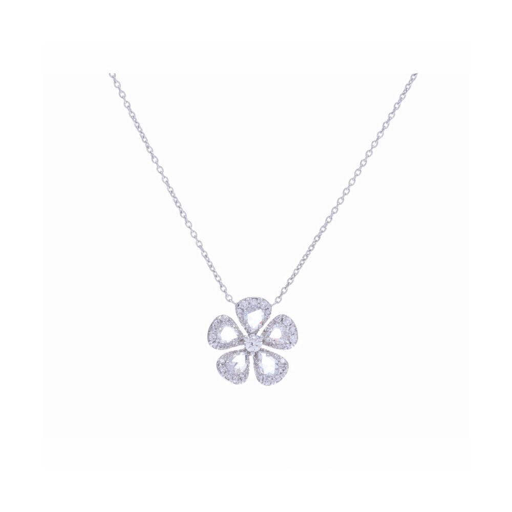 Grace Rosecut Diamond Flower Necklace in 18k White Gold