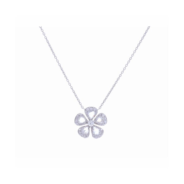 Closeup photo of Grace Rosecut Diamond Flower Necklace in 18k White Gold