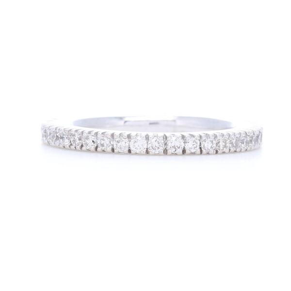 Closeup photo of White Diamonds Prong set in 18k White Gold Eternity Stack Ring