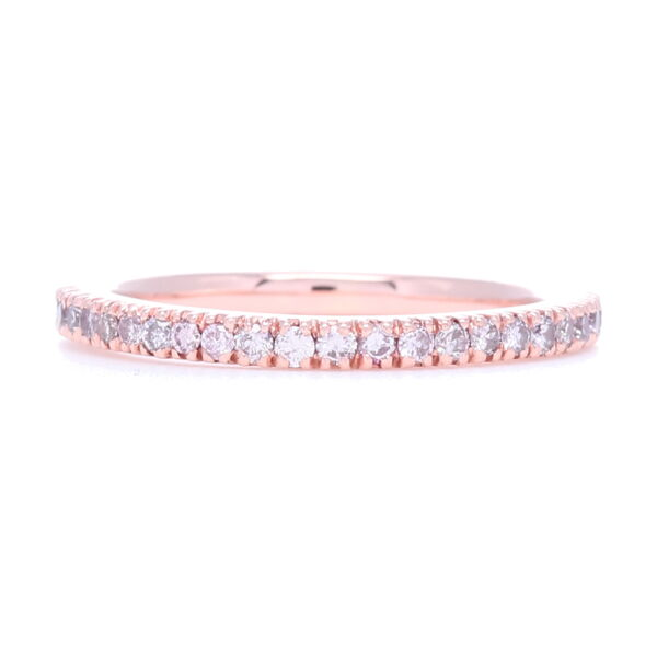 Closeup photo of 18k Rose Gold and Pink Diamond Prong Set Eternity Stack Ring
