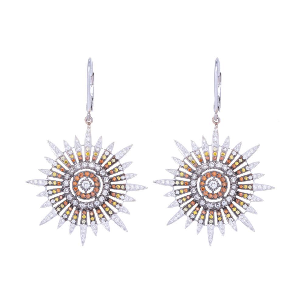 White Yellow & Orange Diamond Star Earrings in 18k White Gold