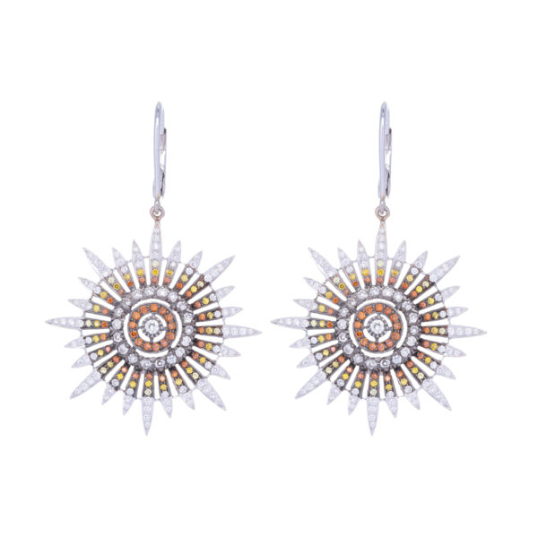 Closeup photo of White Yellow & Orange Diamond Star Earrings in 18k White Gold