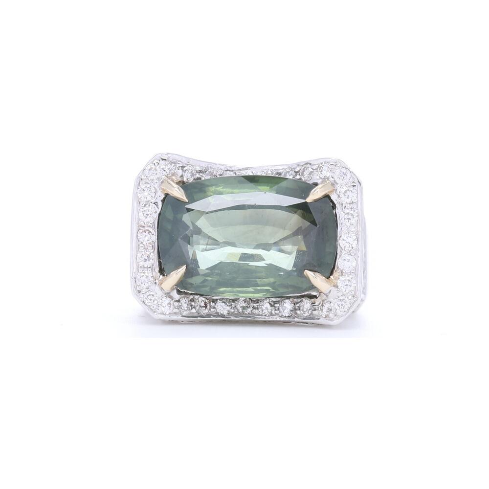 18k White Gold Elongated Cushion Cut Green Tourmaline with Diamonds