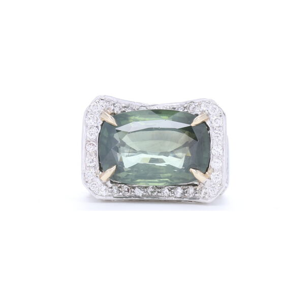 Closeup photo of 18k White Gold Elongated Cushion Cut Green Tourmaline with Diamonds