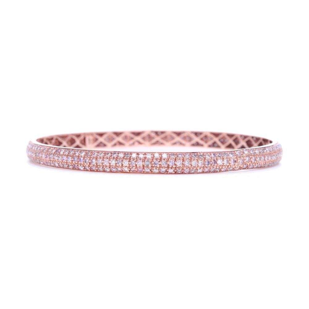 Tyre Bangle Bracelet with Pink Diamonds Set in 18k Rose Gold