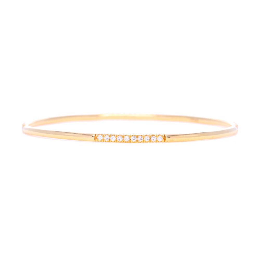 White Diamonds Set in 18k Yellow Gold Bangle Bracelet