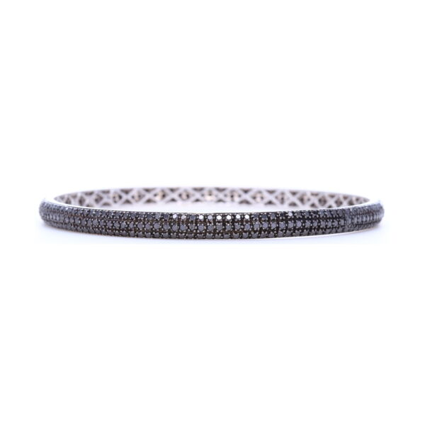 Closeup photo of Tyre Bangle Bracelet with Black Diamonds set in 18k White Gold and Black Rhodium