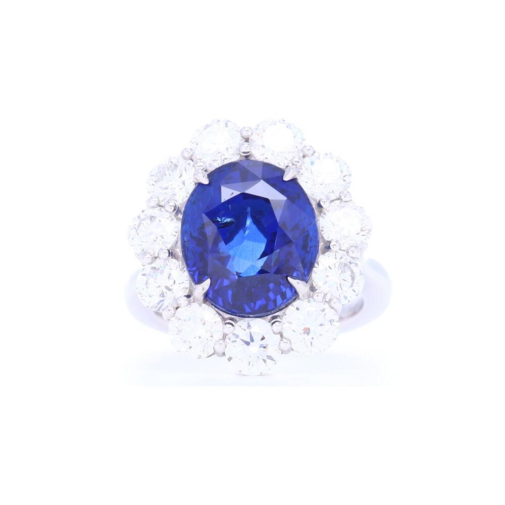 Platinum Set 10.78 carat Certified Oval Cut Sri Lankan Sapphire