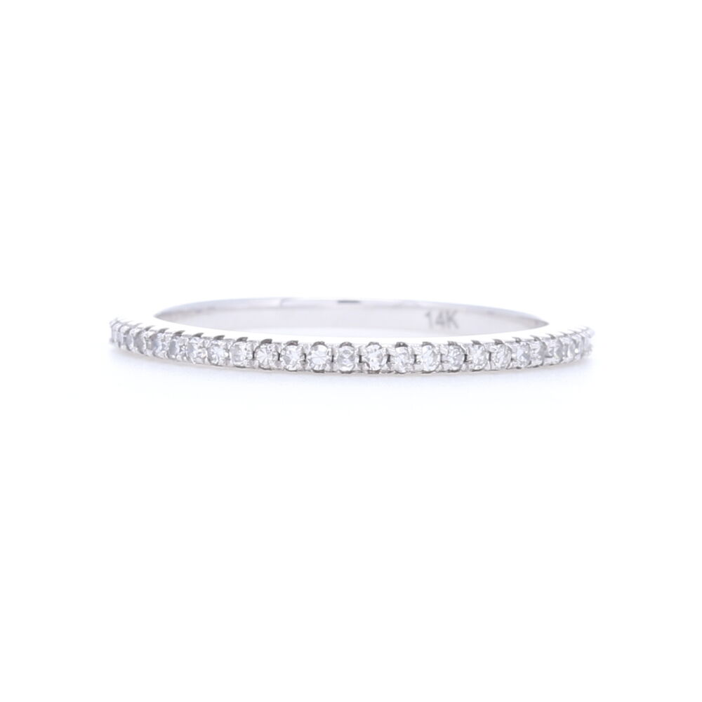 Eternity Petite Stack Ring Band 14k White Gold with Diamonds