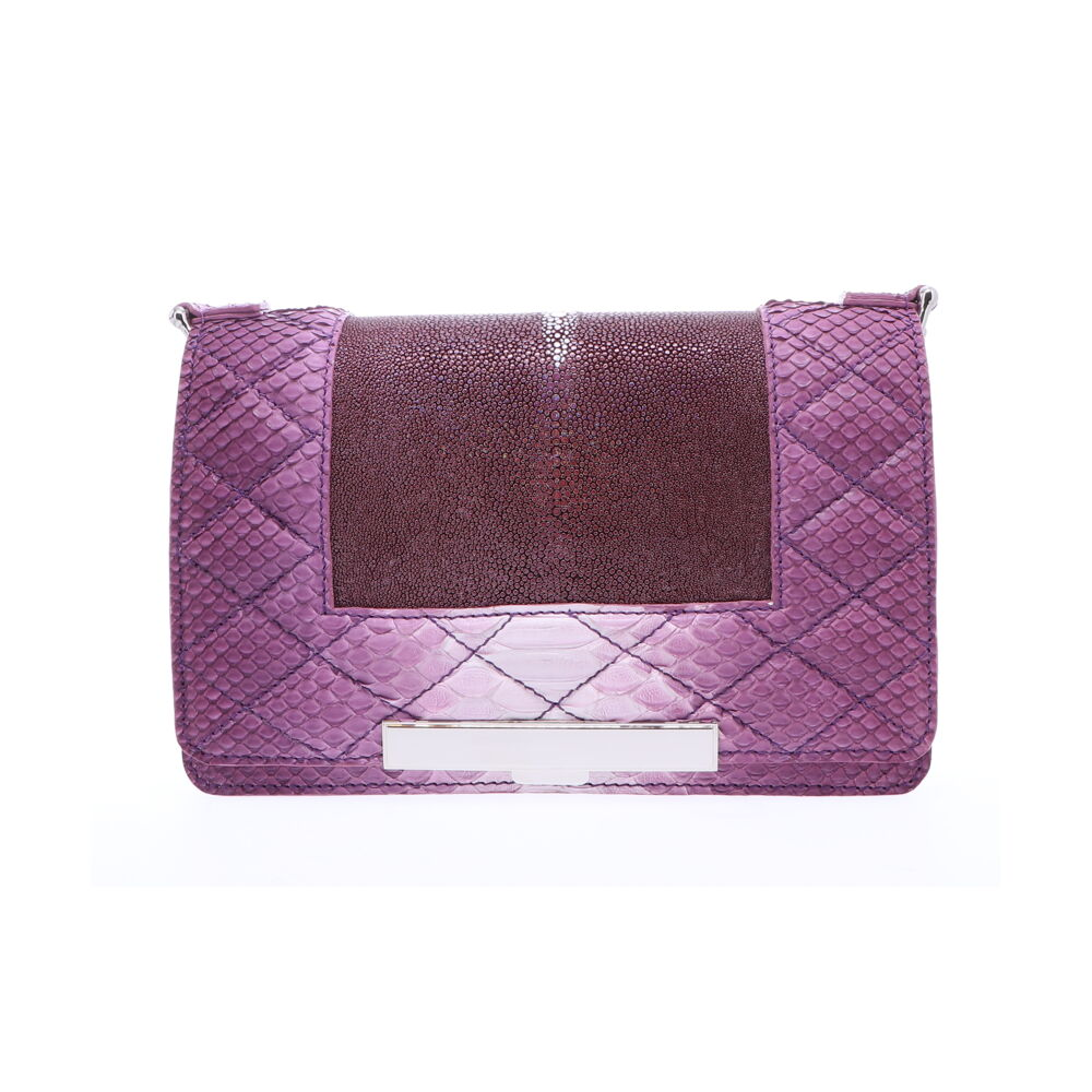 Ombre Purple Stingray and Python Chain Bag